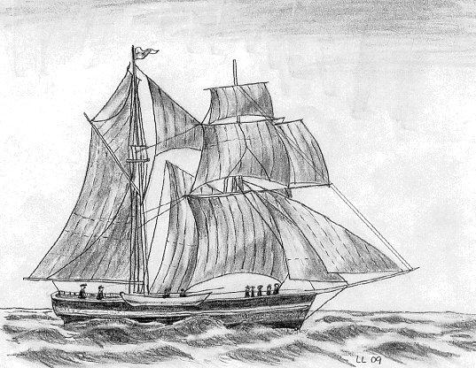 """Skonaren """"Spetsbergen"""" som Nils Fredrik Rönnbäck var delägare i och förde befälet på."""