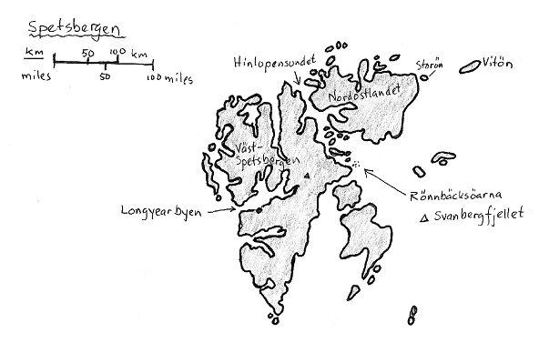 Kartskiss över Spetsbergen. Vitön i nordöst är den plats där kvarlevorna av Andree-expeditionens medlemmar återfanns 1930 efter den misslyckade ballongflygningen från Danskön i nordvästra delen av Spetsbergen 1897. Det var flera år efter Nils Fredrik Rönnbäcks upptäckter. Från Storön mellan Vitön och Nordostlandet avseglade Rönnbäck och fann Frans Josefs land 35 mil längre österut. På 1800-talet fanns ingen bofast befolkning på Spetsbergen. I dag bor cirka 3500 personer där, de flesta från Ryssland. Stora gas-, olja- och kolfyndigheter har gjorts där. Huvudort är Longyearbyen.